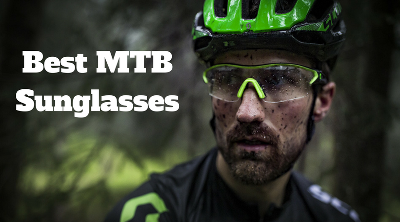 Man wearing mountain bike glasses to prective his eyes from debris