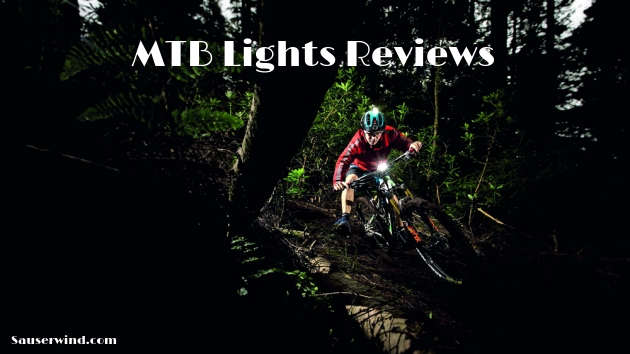 Mountain bike at night with bright headlights