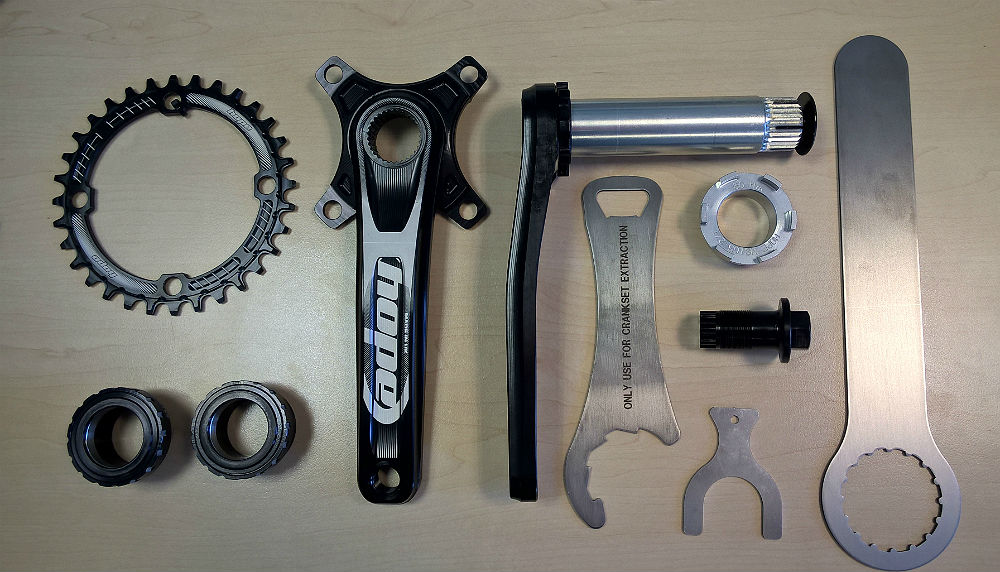 hope spiderless crank image shows all the parts you get when you buy this crank