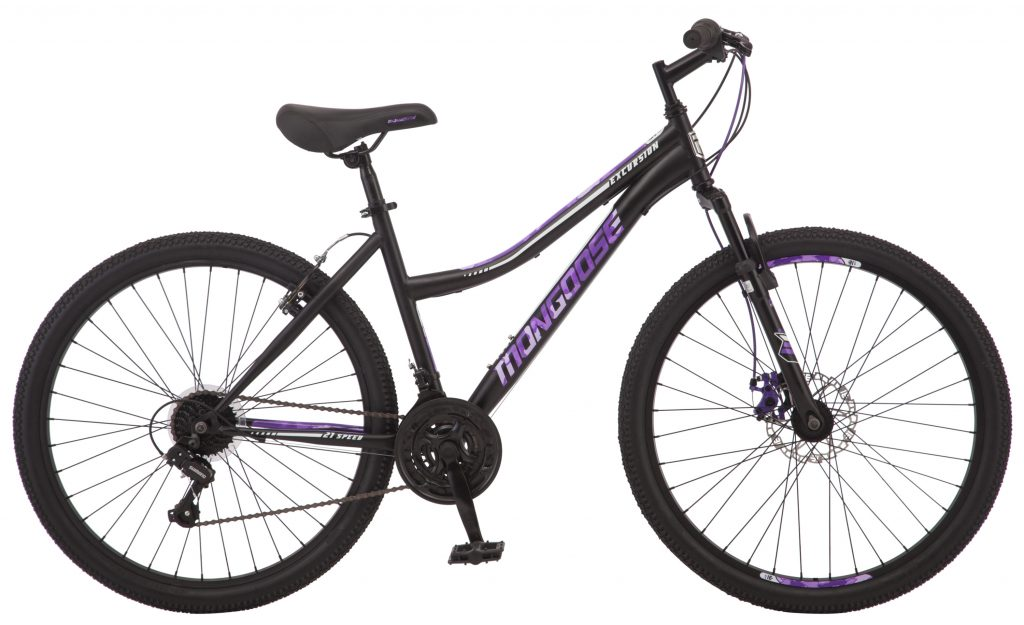 womens mongoose excursion mountain bike. side profile of bike is the cheapest womens mountain bike available